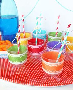 Decorate plastic party cups with ribbon
