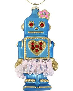 BLUE ROBOT ORNAMENT BLUE accessories misc. gifts no sub class