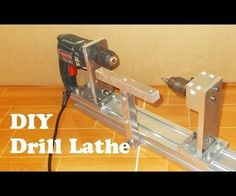 Homemade wood mini lathe by hand Drill very easy and cheap with old hand drill, Aluminium Alloy Profile 600 mm x 80 mm x 40 mm2 pcs Aluminium Alloy 6061 ...