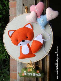 Porta de maternidade - bastidor raposinha - Mon Bébé - Itens em feltro