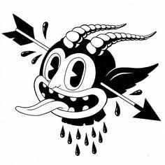 Retro Cartoons, Old Cartoons, Vintage Cartoon, Cartoon Art, Dark Art Drawings, Cool Drawings, Tattoo Drawings, Desenho New School, Graffiti