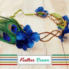 Daenerys-velvet hydrangea and peacock crown Feather Crown, Feather Hair, Whimsical Hair, Flower Headpiece, Headdress, Diy Wedding Favors, Wedding Ideas, Doll Costume, Costumes