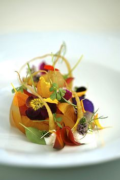 peaches, candied baby parsnips, yogurt, rooibos, lilac infusion, tonic water sorbet, By jordan kahn