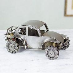 Iron sculpture - Rustic 4x4 Beetle   NOVICA