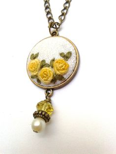 Vintage style yellow roses hand embroidered jewelry by ConeBomBom, $22.00