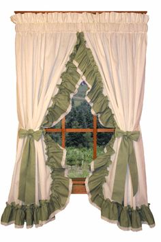 Madelyn Victorian Ruffled Priscilla Window Curtains with Lace Edging and Bow Tie Backs