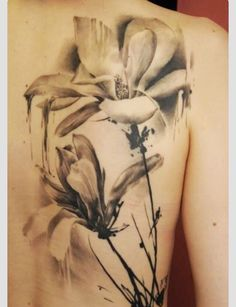 Black and white watercolor flower