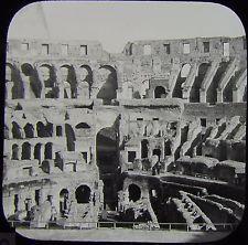 Glass Magic Lantern Slide THE COLOSSEUM INTERIOR C1890 ROME PHOTO ROMA PHOTO