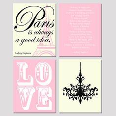 Set of Four 8x10 Prints - Audrey In Paris Collection - LOVE Stencil,  Audrey Hepburn Quotes, Chandelier - Choose Your Colors