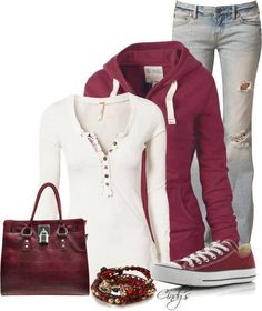 Casual and cute. Even like the purse. Like the color of the jeans, but don't like the  holes.