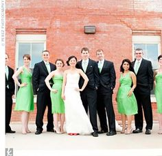 Green tie for Nick w/purple boutonniere.  Green or purple dresses for bridesmaids w/purple, white and green flowers??