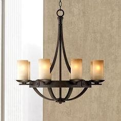 Rustic and chic, this bronze finish chandelier features - gorgeous scavo glass and an elegant design. For the dining room Cabin Chandelier, Chandelier Lighting Fixtures, Bronze Chandelier, Dining Lighting, Rustic Lighting, Glass Chandelier, Chandelier Ideas, Light Fittings, Light Fixtures