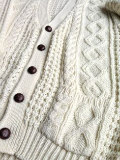 Oversized cable knit cream sweater cardigan by ENGARLAND on Etsy