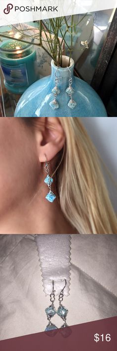 Silver Double Blue Stone Earrings  Brand new in a box. They measure approximately 2 inches. Very classy and stylish, great for spring time!  brand not listed. Jewelry Earrings