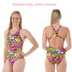 6c8755e31de5d Ladies Sport Back Hip Hop One Piece Chlorine Resistant Swimsuit