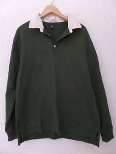 GAP Men's Shirts Size-XL Green 100% Cotton Very Good!  #Gap #PoloRugby