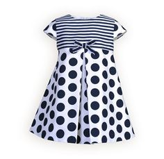 Navy Stripes and Dots Raised-Waist Dress
