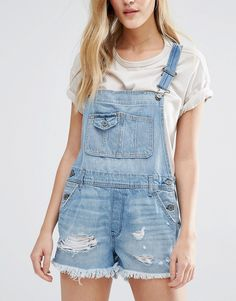 Image 3 of Abercrombie & Fitch Pale Wash Dungaree Shorts with Raw Edge
