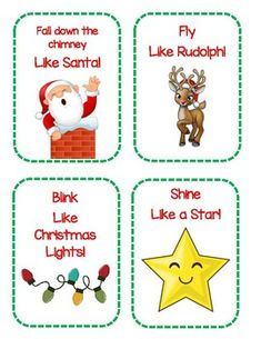 Christmas Themed Gross Motor Cards by Early Childhood Resource Center Physical Activities For Toddlers, Christmas Activities For Toddlers, Christmas Games For Kids, Motor Skills Activities, Movement Activities, Preschool Christmas, Toddler Christmas, Holiday Activities, Preschool Activities