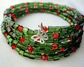 Christmas Bracelet, Butterfly Charm,  Beaded Memory Wire Bracelet, red and green Miyuki,