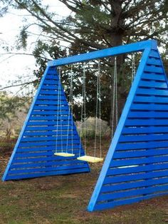 Would be cool to plant vines at the base and use it like a trellis. 9 DIY Wooden Swing Set Plans for Your Backyard: Modern A-Frame Swing Set Plan from HGTV Wooden Swing Set Plans, A Frame Swing Set, Swing Sets, Build A Swing Set, Palette Deco, Unique Garden, Garden Fun, Backyard Swings, Fun Backyard