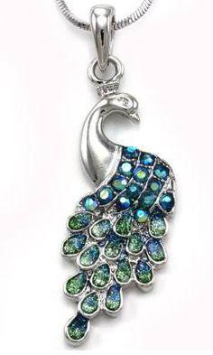 Green Peacock Pendant Necklace  $9.99 www.AllThingsPeacock.com