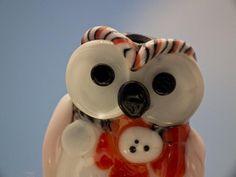 Joy lampwork owl bead sra by DeniseAnnette on Etsy, $16.00