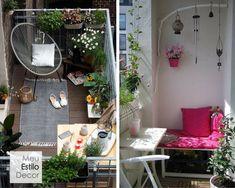 Como decorar sua varanda pequena • MeuEstiloDecor Ladder Decor, Home Decor, Small Porch Decorating, Decorative Ladders, Synthetic Rugs, Veranda Ideas, Small Balconies, Decorating Ideas, Apartments