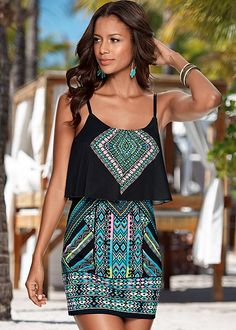 Summer trend: Tribal print looks. Venus mini printed dress.