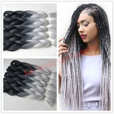 Free shipping ombre Kanekalon braiding hair two toned jumbo braids synthetic hair extension Black ombre silver Gray #http://www.jennisonbeautysupply.com/ #<script http://www.jennisonbeautysupply.com/products/free-shipping-ombre-kanekalon-braiding-hair-two-toned-jumbo-braids-synthetic-hair-extension-black-ombre-silver-gray/, Kanekalon Jumbo Braid Material: 100% Synthetic Hair Color: Black+silver Gray Weight: 100g/pc ...