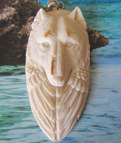 Goddess and Wolf Carved Antler Spirit by LenniesBeadDrawer on Etsy, $34.00