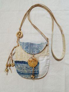 Indigo hemp textile patchwork pouch от Indinoco на Etsy