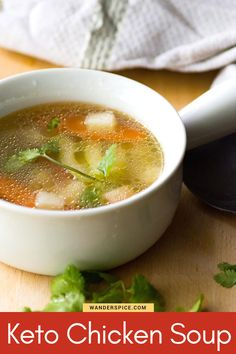 Easy and low-carb Keto chicken soup recipe. Savory and hearty with low carbs.