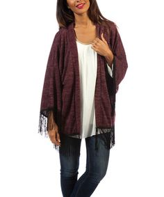 Take a look at this Bordeaux Fringe Wool-Blend Open Cardigan on zulily today!