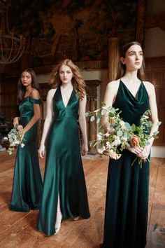 Looking for beautiful long dresses for your fall or winter wedding? The Jenny Yoo bridesmaid dress styles Serena, Corrine and Sullivan are the answer! Available at Brideside, you can find velvet and luxe crepe fabrics in shade 'Emerald. Winter Wedding Bridesmaids, Winter Bridesmaid Dresses, Wedding Bridesmaid Dresses, Fall Wedding, Wedding Gowns, Bridesmaid Dress Colors, Emerald Green Bridesmaid Dresses, Green Wedding Dresses, Green Bridesmaids