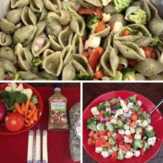 Garden Pasta Salad - Ingredients: 1 lb Basil Garlic Seashells 1 16 oz Italian Dressing  1 handful carrots 1/4 large red onion 10 oz broccoli/cauliflower mix 3 string cheese sticks  Mis En Place: Start off by chopping up all the veggies (you can add or substitute any fresh veggies you would like). I than cut up the string cheese sticks into small round pieces. Once all items are cut up, mix them in a bowl with about 2 tbsp of the salad dressing. I think this is a great time to flavor the ...