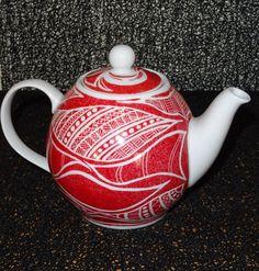 théière rouge peinte à la main : Vaisselle, verres par pigments-et-kaolin