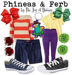 Phineas: Shirt, £18 ; Shorts, $19.99 ; Shoes, $44.99 ; Earrings, $15 ; Bow, $2.45 ; Perry keychain, $5.19Ferb: Shirt, $12.99 ; Pants, £20 ; Shoes, $22.99 ; Earrings, $14.99 ; Bow, $2.49 Outfits inspired by Phineas and Ferb!