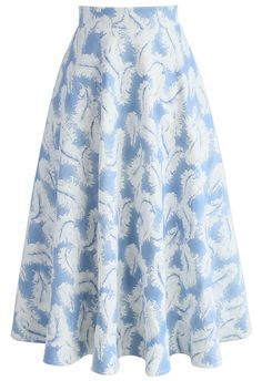 Feathers in the Air Midi Skirt in Sky Blue - Skirt - Bottoms - Retro, Indie and Unique Fashion