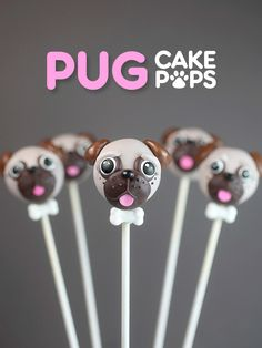 The sweetest Pug Cake Pops I made in collaboration with tablespoon.com - #sponsored #tablespoonparty