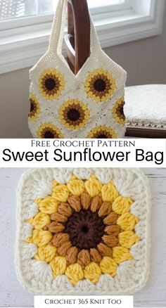 I need this adorable summer bag in my life! Don't you just love the little sunflower squares? #crochet #freecrochet #freecrochetpattern #crochetpattern #crochet365knittoo #funcrochet #easycrochet #crochetpurse #crochetbag #crochetsunflowerbag #freecrochetbagpattern #freecrochetbag #crochetbagpattern #summercrochet #sweetsummersunflowerbag