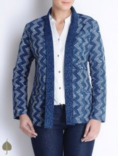 Indigo-Ivory Bagru Printed Cotton Jacket by Jaypore