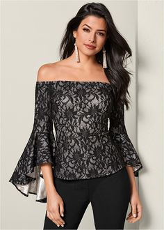 Order a sexy Black Multi Trumpet Sleeve Lace Top from VENUS. Shop short sleeve tops, tanks, tees, blouses and more at an affordable price today! Mode Outfits, Casual Outfits, Fashion Outfits, Womens Fashion, Modest Fashion, Fashion Week, Look Fashion, 2000s Fashion, Looks Plus Size