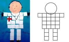 Week 3 thema Hatsjoe, werkje Dokter: plakfiguurtjes of zelf laten knippen... In het groot met rondje als hoofd en vierkantblaadjes formaat postit.