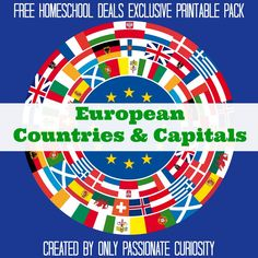 Free Homeschool Deals Printable Pack of Countries, States, and Capitals | Geography