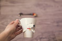 mug made of polymer clay with a picture of Brian and Stewie from family guy
