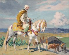 Cavalier marocain devant un campement von Edouard Edmond Doigneau