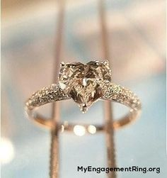 Champagne Diamond heart love engagement ring - My Engagement Ring