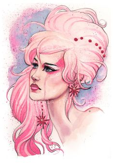 Jem and the Holograms 80's PINK inspired by carlationsart on Etsy                                                                                                                                                                                 More