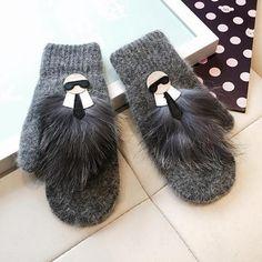 2016 New Winter Warm Female Gloves Women Rabbit Fur Wool Blend Mittens PU Fingerless Leather Accessories Gloves ZS-AGB036
